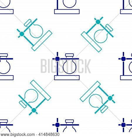Blue Glass Test Tube Flask On Stand Icon Isolated Seamless Pattern On White Background. Laboratory E