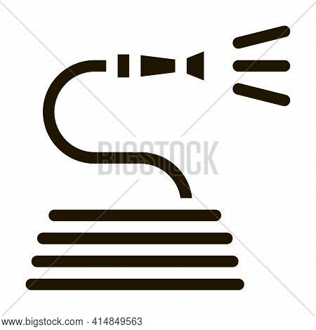 Rolled Hose For Irrigation Glyph Icon Vector. Rolled Hose For Irrigation Sign. Isolated Symbol Illus