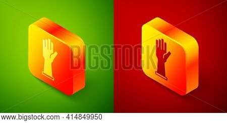 Isometric Medical Rubber Gloves Icon Isolated On Green And Red Background. Protective Rubber Gloves.