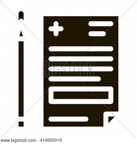 Medical Prescription And Pencil Glyph Icon Vector. Medical Prescription And Pencil Sign. Isolated Sy