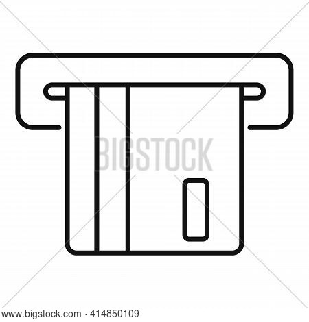 Atm Credit Card Icon. Outline Atm Credit Card Vector Icon For Web Design Isolated On White Backgroun