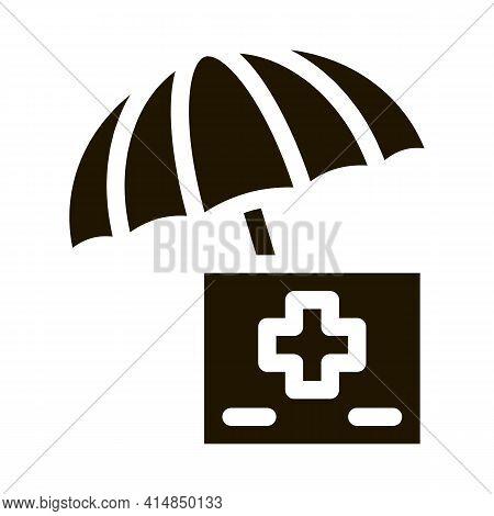 Medical Care Under Umbrella Glyph Icon Vector. Medical Care Under Umbrella Sign. Isolated Symbol Ill