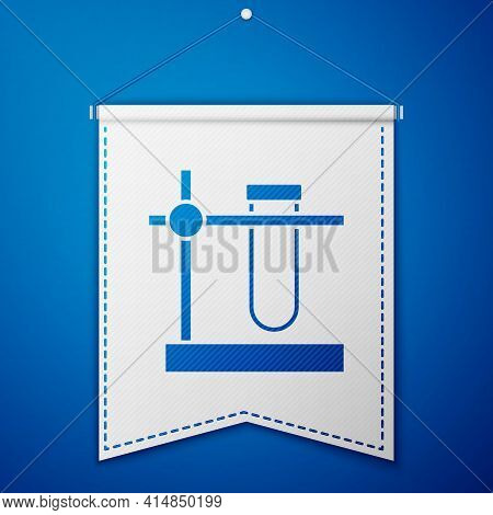 Blue Glass Test Tube Flask On Stand Icon Isolated On Blue Background. Laboratory Equipment. White Pe