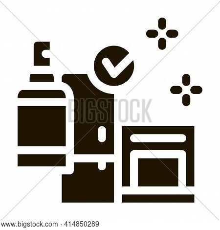Kitchen Cleaning Glyph Icon Vector. Kitchen Cleaning Sign. Isolated Symbol Illustration
