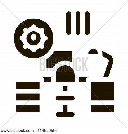 Harmful Bacteria In Working Room Glyph Icon Vector. Harmful Bacteria In Working Room Sign. Isolated