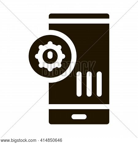 Bacteria Detection On Mobile Phone Glyph Icon Vector. Bacteria Detection On Mobile Phone Sign. Isola