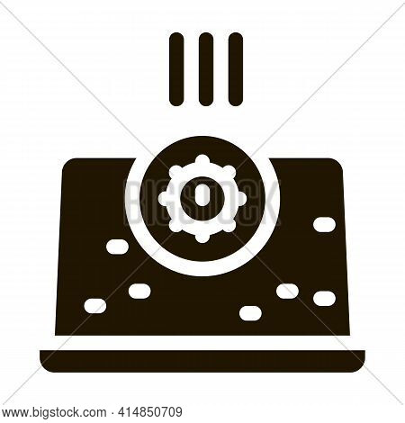 Bacteria Detection On Laptop Glyph Icon Vector. Bacteria Detection On Laptop Sign. Isolated Symbol I
