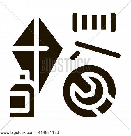 Homemade Hand Kite Glyph Icon Vector. Homemade Hand Kite Sign. Isolated Symbol Illustration