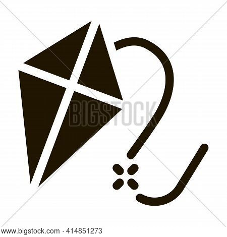 Flying Kite Glyph Icon Vector. Flying Kite Sign. Isolated Symbol Illustration