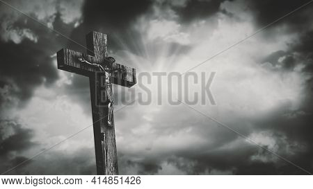 Jesus Christ Crucified At Golgotha Hill Outside Ancient Jerusalem. The Crucifixion Of Christ With St