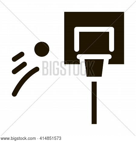 Basketball Hoop And Flying Ball Glyph Icon Vector. Basketball Hoop And Flying Ball Sign. Isolated Sy