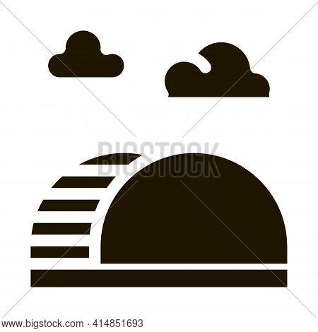 Semicircular Hill Ladder Rainbow Glyph Icon Vector. Semicircular Hill Ladder Rainbow Sign. Isolated
