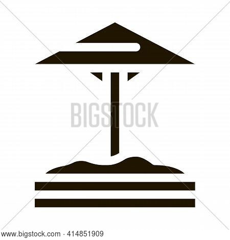 Sandbox With Protective Umbrella Glyph Icon Vector. Sandbox With Protective Umbrella Sign. Isolated