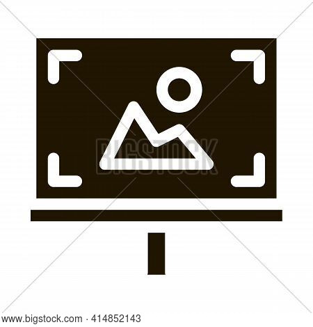 Easel Painted With Colored Paints Glyph Icon Vector. Easel Painted With Colored Paints Sign. Isolate