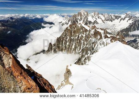 Mountain landscape in Haute Savoie - seen from Aiguiile du Midi, France, Europe