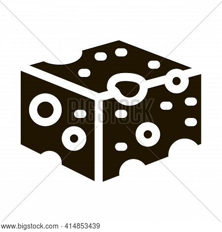 Coarse Cheese Bar Glyph Icon Vector. Coarse Cheese Bar Sign. Isolated Symbol Illustration