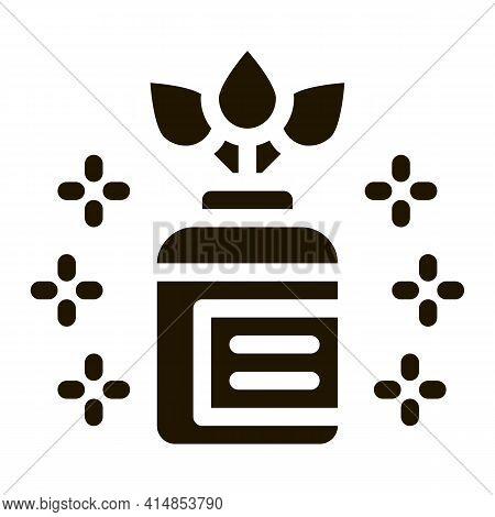 Organic Medicine Vial Glyph Icon Vector. Organic Medicine Vial Sign. Isolated Symbol Illustration