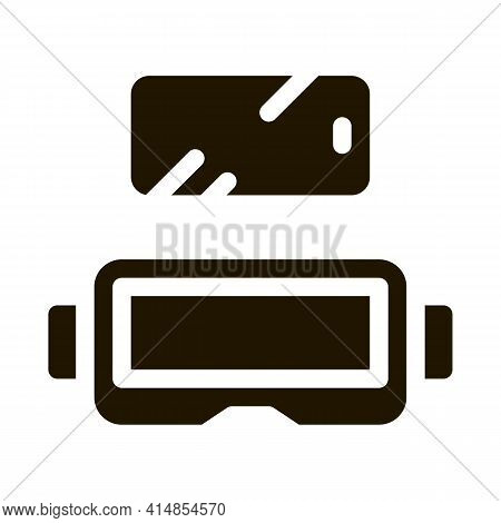Glasses For Virtual Reality Glyph Icon Vector. Glasses For Virtual Reality Sign. Isolated Symbol Ill