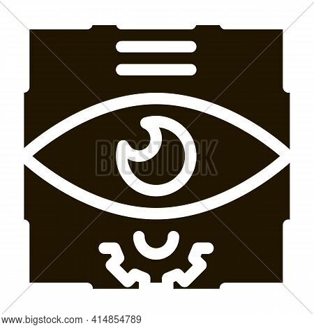 Goal By Eye Analysis Of Reality Glyph Icon Vector. Goal By Eye Analysis Of Reality Sign. Isolated Sy