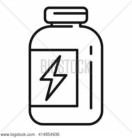 Gym Protein Jar Icon. Outline Gym Protein Jar Vector Icon For Web Design Isolated On White Backgroun