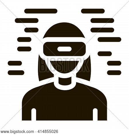 Woman Wearing Virtual Reality Glasses Glyph Icon Vector. Woman Wearing Virtual Reality Glasses Sign.