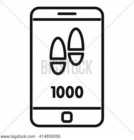 Smartphone Steps Counter Icon. Outline Smartphone Steps Counter Vector Icon For Web Design Isolated