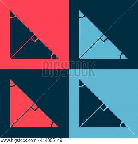 Pop Art Angle Bisector Of A Triangle Icon Isolated On Color Background. Vector