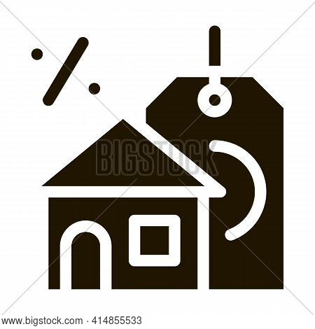 Interest Home Purchase Glyph Icon Vector. Interest Home Purchase Sign. Isolated Symbol Illustration