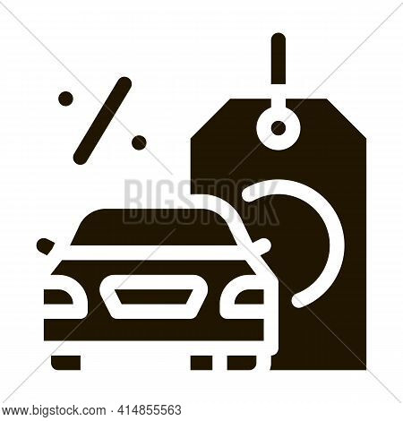 Car Purchase At Interest Glyph Icon Vector. Car Purchase At Interest Sign. Isolated Symbol Illustrat