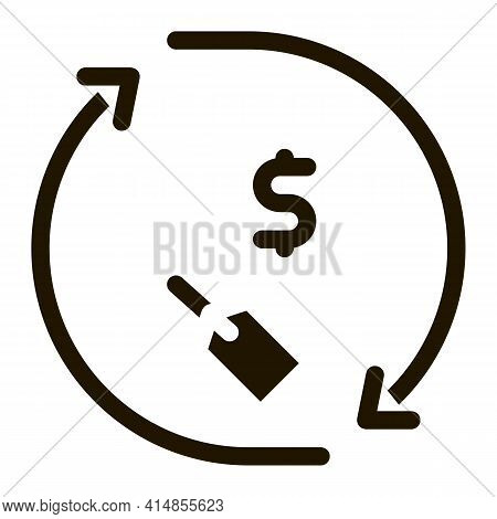 Money Bag Repeat Glyph Icon Vector. Money Bag Repeat Sign. Isolated Symbol Illustration