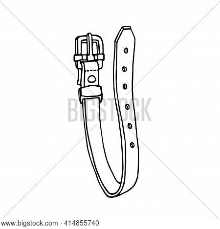 Simple Leather Belt With Metal Buckle, Vector Illustration With Black Ink Contour Lines Isolated On