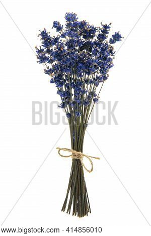 Bouquet Of Dried Lavender Flowers Tied With A Burlap Twine On A White Background