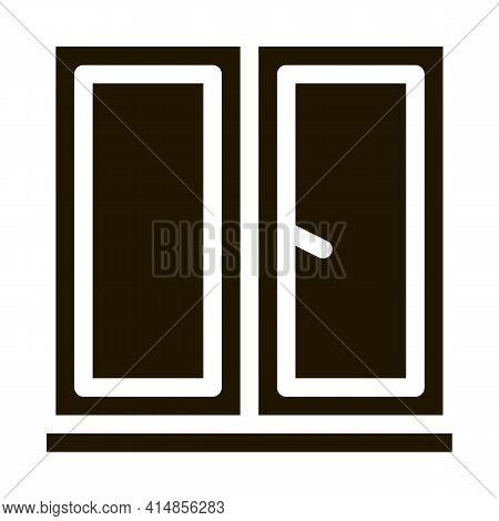 Two-half Window Glyph Icon Vector. Two-half Window Sign. Isolated Symbol Illustration