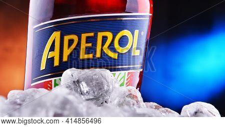 Poznan, Pol - Jan 27, 2021: Bottle Of Aperol, An Italian Aperitif Made Of Gentian, Rhubarb, And Cinc