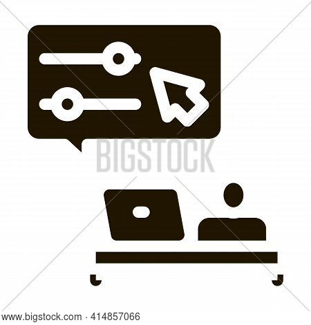 Desktop Movie Maker Glyph Icon Vector. Desktop Movie Maker Sign. Isolated Symbol Illustration