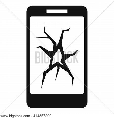 Cracked Smartphone Display Icon. Simple Illustration Of Cracked Smartphone Display Vector Icon For W