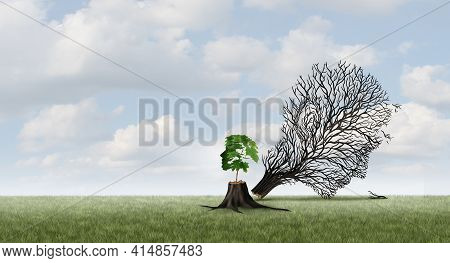 New Life Concept And Growth Or Emerging Renewal Idea With 3d Illustration Elements.