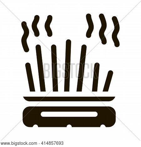 Cast-iron Pot With Chopsticks Glyph Icon Vector. Cast-iron Pot With Chopsticks Sign. Isolated Symbol