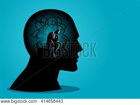 Vector Illustration Of A Man Sitting In Human Head With Tangled Cords, Stress, Depression Concept