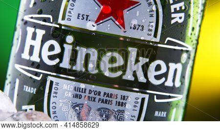 Bottle Of Heineken Beer In Crushed Ice