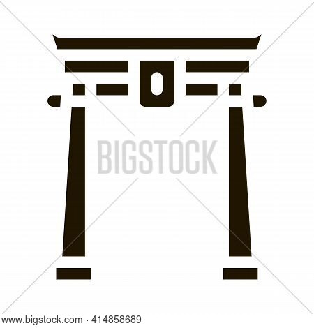 Chinese Arch With Columns Glyph Icon Vector. Chinese Arch With Columns Sign. Isolated Symbol Illustr