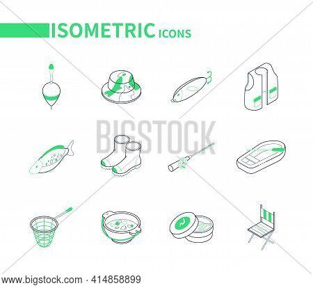 Fishing Equipment - Modern Line Isometric Icons Set