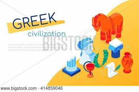 Greek Civilization - Modern Colorful Isometric Web Banner