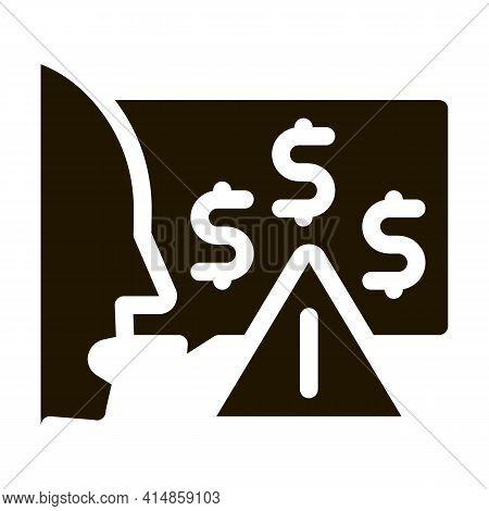 Thought Story Man About Monetary Warnings Glyph Icon Vector. Thought Story Man About Monetary Warnin