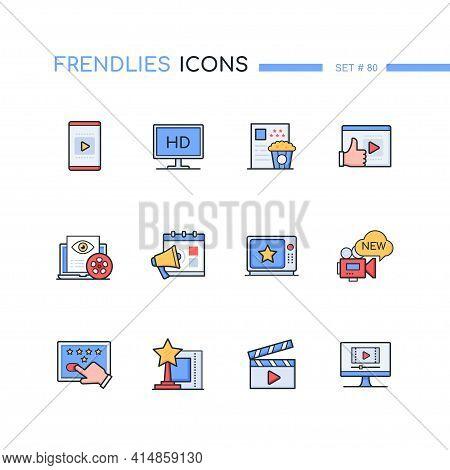 Cinema Online - Modern Line Design Style Icons Set