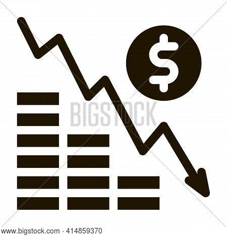 Monetary Decline Glyph Icon Vector. Monetary Decline Sign. Isolated Symbol Illustration