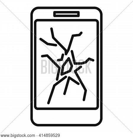 Cracked Smartphone Display Icon. Outline Cracked Smartphone Display Vector Icon For Web Design Isola