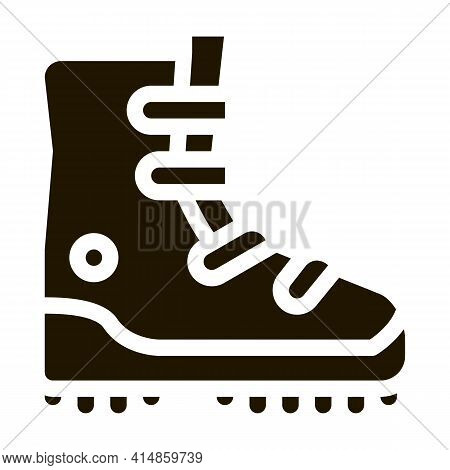 Hiking Tourist Boot Glyph Icon Vector. Hiking Tourist Boot Sign. Isolated Symbol Illustration