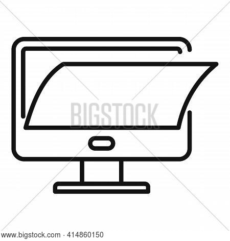 Pc Monitor Protection Icon. Outline Pc Monitor Protection Vector Icon For Web Design Isolated On Whi