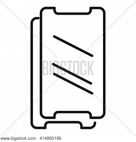 Resistant Phone Glass Icon. Outline Resistant Phone Glass Vector Icon For Web Design Isolated On Whi